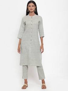 Jompers Women Grey Solid Kurta with Trousers & Dupatta