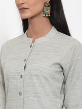 Load image into Gallery viewer, Jompers Women Grey Solid Kurta with Trousers & Dupatta