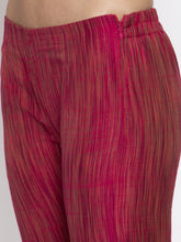 Load image into Gallery viewer, Jompers Women Pink Self-Striped Kurta with Trousers & Art Silk Printed Dupatta