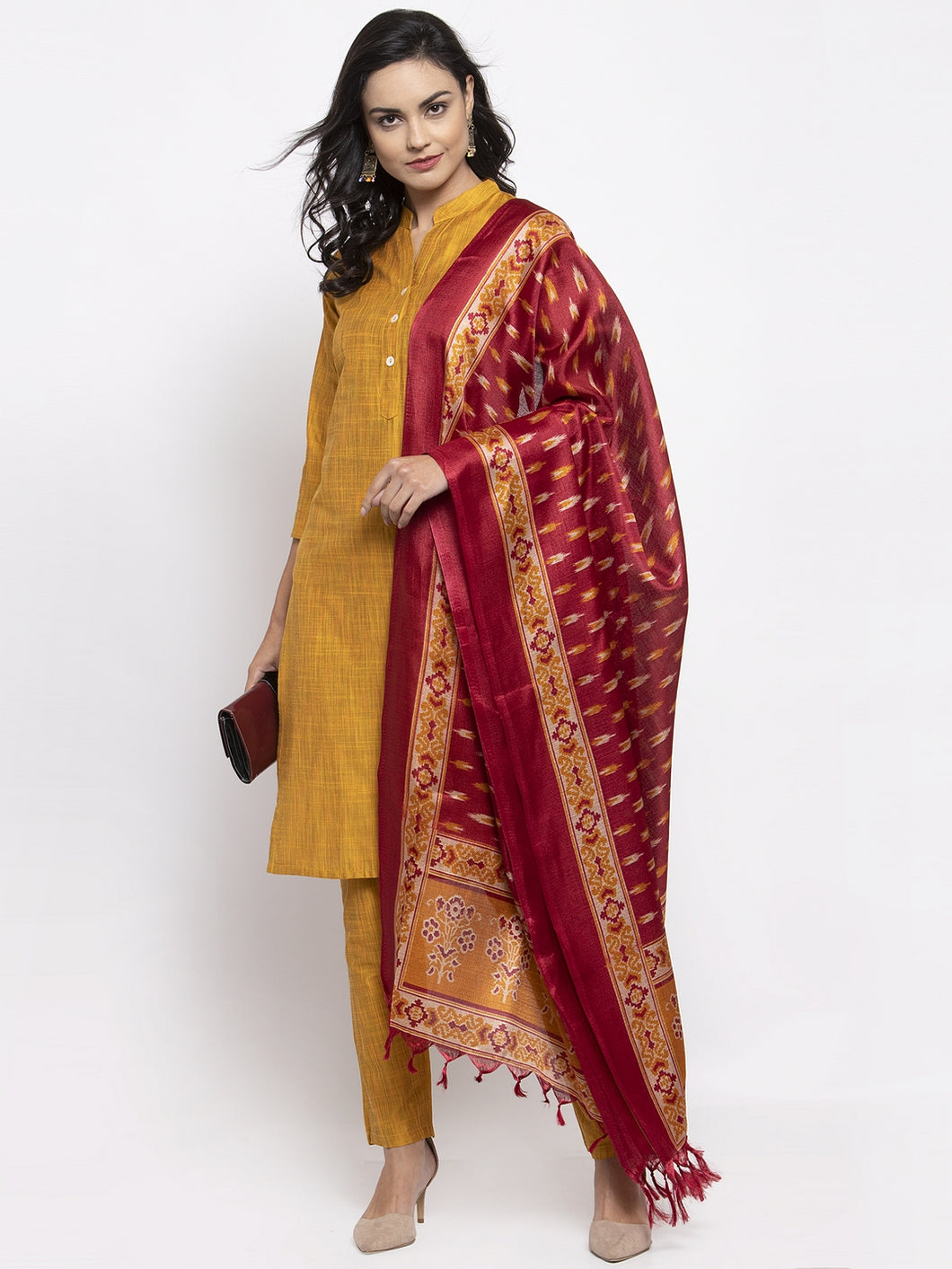 Jompers Women Yellow Self-Striped Kurta with Trousers & Art Silk Printed Dupatta