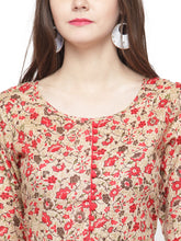 Load image into Gallery viewer, Jompers Women Red & Beige Printed A-Line Kurta - Jompers