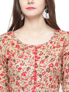 Jompers Women Red & Beige Printed A-Line Kurta - Jompers
