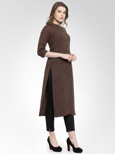 Jompers Women Brown self design straight Kurta