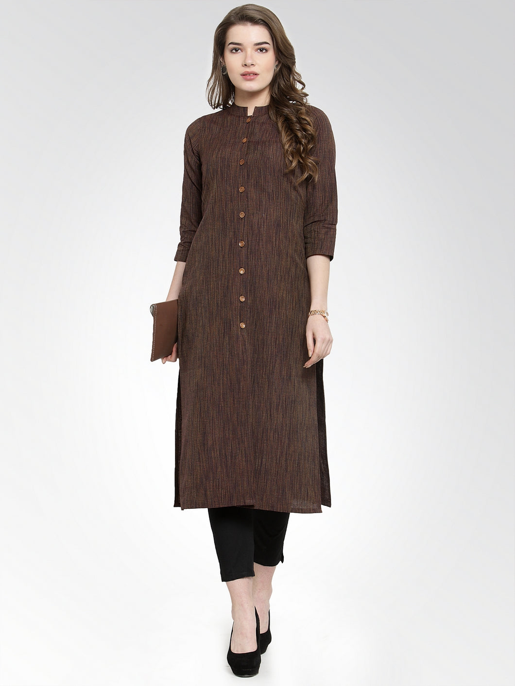 Jompers Women Brown self design straight Kurta with Trousers