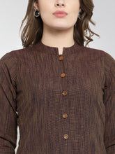 Load image into Gallery viewer, Jompers Women Brown self design straight Kurta with Trousers