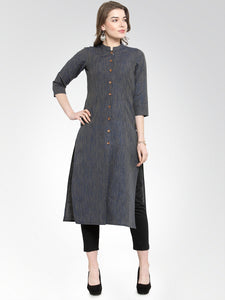 Jompers Women Navy self design straight Kurta