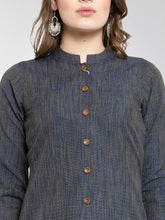 Load image into Gallery viewer, Jompers Women Navy self design straight Kurta