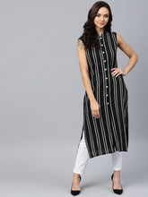 Load image into Gallery viewer, Jompers Women Black Striped Straight Kurta
