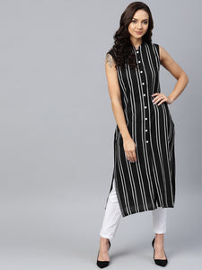 Jompers Women Black Striped Straight Kurta