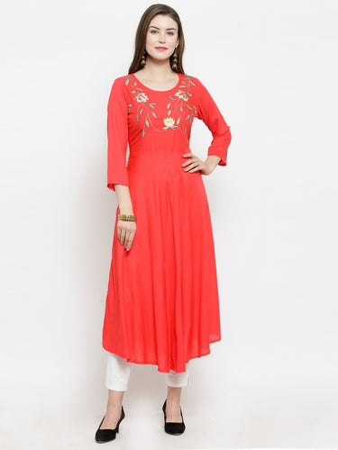 Jompers Women Peach embroidered Flaired Kurta