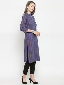 Jompers Women Blue Blue Striped Cotton-blend Straight Kurta