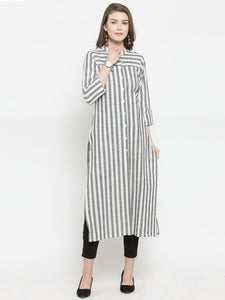 Jompers Women Grey & Off-White Striped Cotton Straight Kurta