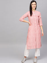 Load image into Gallery viewer, Jompers Women Red & Off-White Striped Cotton Straight Kurta