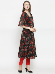Jompers Women Black & Red Floral Printed Gorgette Flared Kurta
