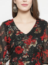Load image into Gallery viewer, Jompers Women Black & Red Floral Printed Gorgette Flared Kurta