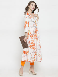 Jompers Women White & Orange Floral Printed Rayon Flared Kurta