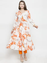 Load image into Gallery viewer, Jompers Women White & Orange Floral Printed Rayon Flared Kurta