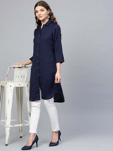Jompers Women Navy Blue Solid A-Line Kurta