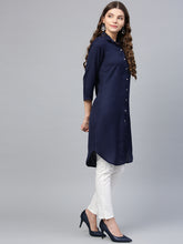 Load image into Gallery viewer, Jompers Women Navy Blue Solid A-Line Kurta