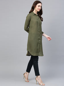 Jompers Women Olive Green Solid A-Line Kurta