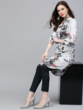Load image into Gallery viewer, Jompers Women Blue & Black Printed Summer-cool A-line Kurta