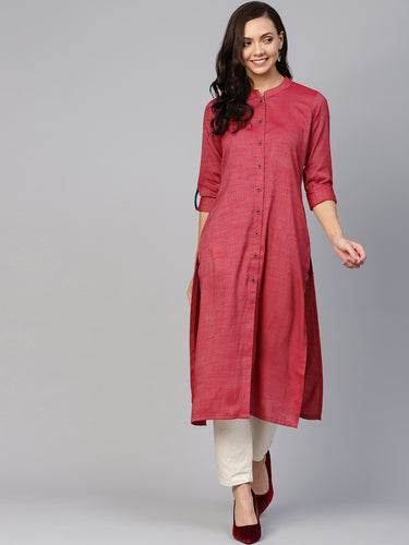 Jompers Women Maroon Woven Design Straight Rayon Kurta