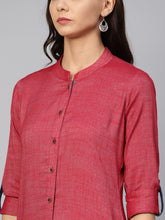 Load image into Gallery viewer, Jompers Women Maroon Woven Design Straight Rayon Kurta