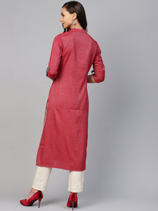 Copy of Jompers Women Maroon Woven Design Straight Rayon Kurta