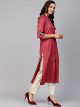 Load image into Gallery viewer, Copy of Jompers Women Maroon Woven Design Straight Rayon Kurta