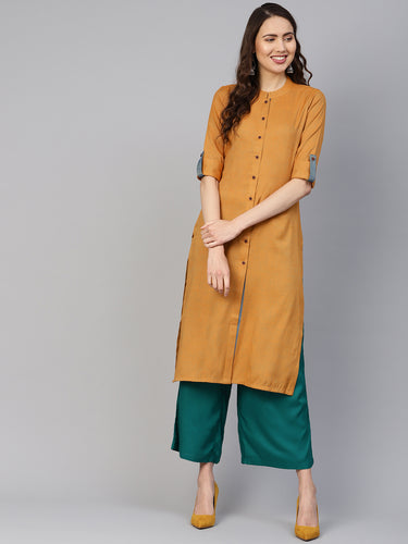 Jompers Women Mustard Woven Design Straight Rayon Kurta