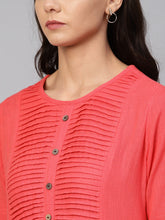 Load image into Gallery viewer, Jompers Women Peach Cotton Straight Kurta with Pintucks