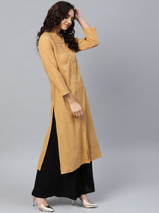 Jompers Women Beige Cotton Straight Kurta with Pintucks