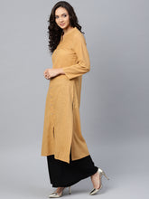 Load image into Gallery viewer, Jompers Women Beige Cotton Straight Kurta with Pintucks