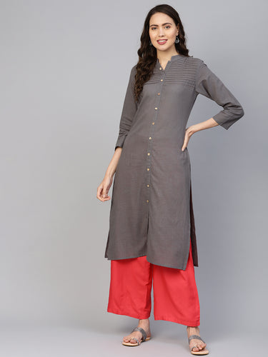 Jompers Women Grey Cotton Straight Kurta with Pintucks