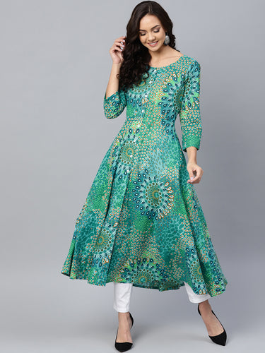 Jompers Women Green & White Printed Flared Kurta