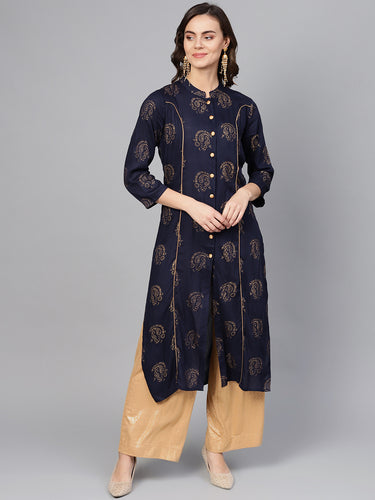Jompers Women Navy Blue & Golden Printed Straight Kurta