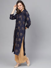 Load image into Gallery viewer, Jompers Women Navy Blue & Golden Printed Straight Kurta