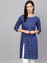 Load image into Gallery viewer, Jompers Women Blue & Off-White Checked Straight Kurta