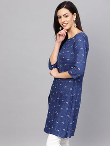 Jompers Women Blue & Off-White Checked Straight Kurta