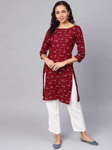 Jompers Women Maroon & Off-White Checked Straight Kurta