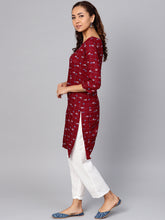Load image into Gallery viewer, Jompers Women Maroon & Off-White Checked Straight Kurta