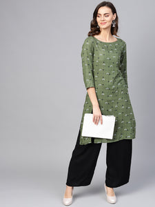 Jompers Women Olive Green & Off-White Checked Straight Kurta