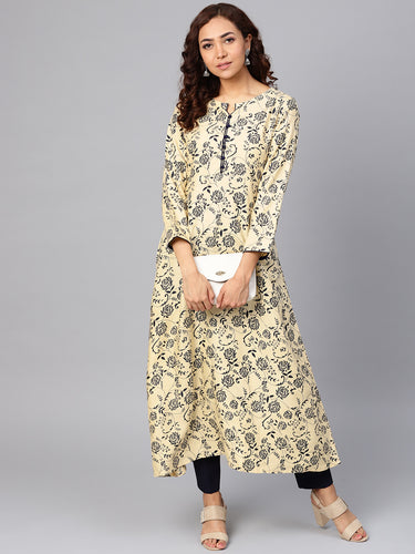 Jompers Women Cream-Coloured & Navy Blue Printed A-Line Kurta