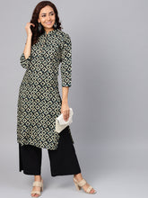 Load image into Gallery viewer, Jompers Women Cream-Coloured & Black Printed Straight Kurta