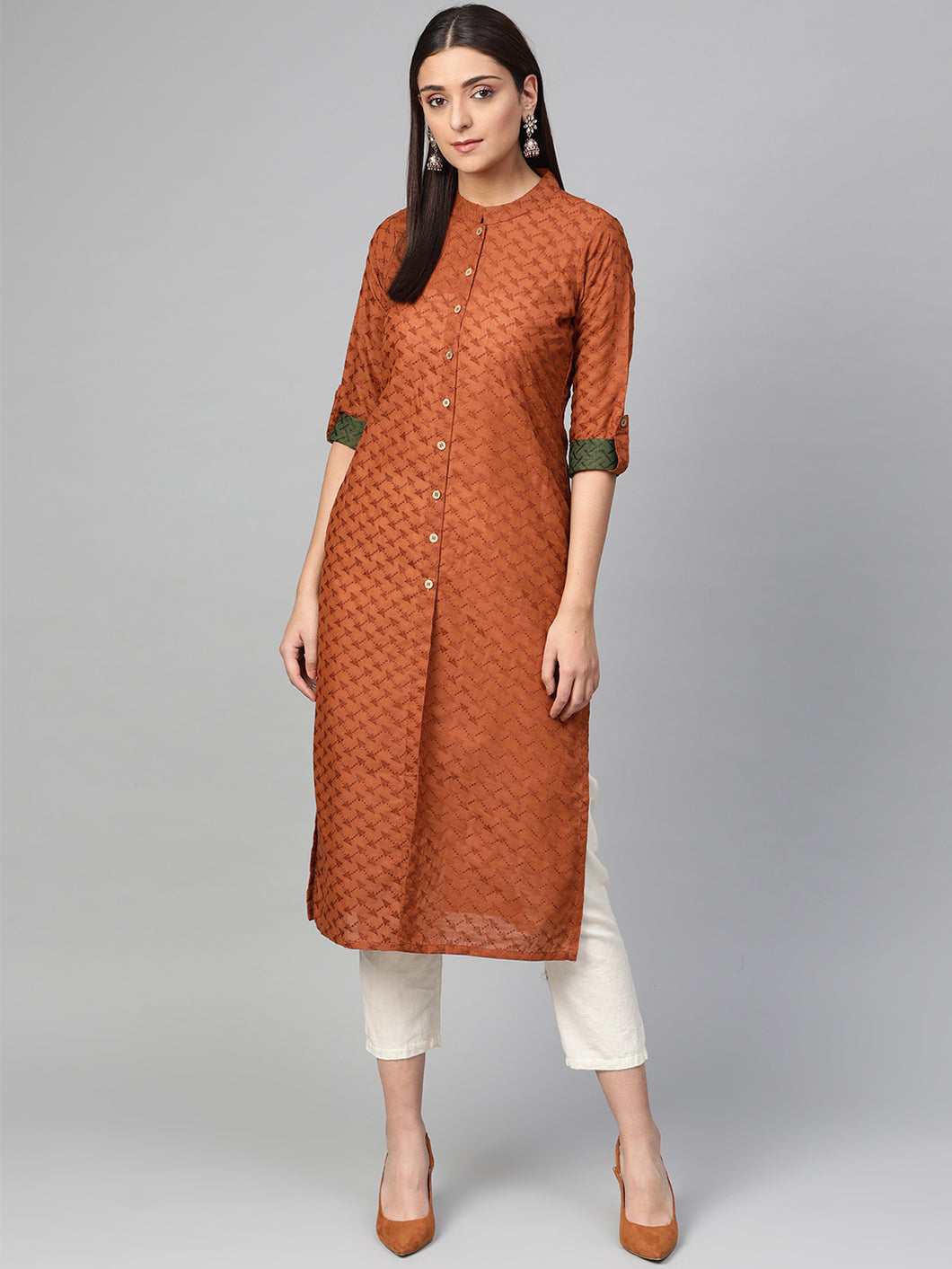 Jompers Women Rust Brown Embroidered Straight Kurta