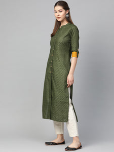 Jompers Women Olive Green Woven Design Straight Kurta