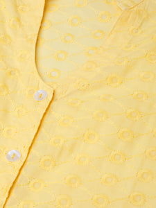 Jompers Women Yellow Chikankari Embroidered Semi-Sheer Straight Kurta