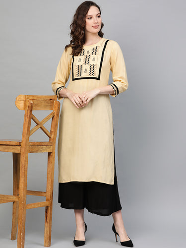Jompers Women Cream-Coloured Yoke Design Straight Kurta