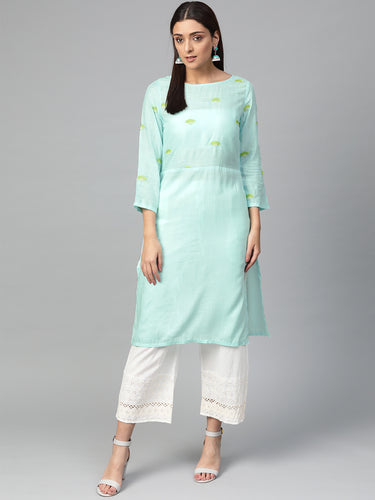 Jompers Women Blue Yoke Design Straight Kurta