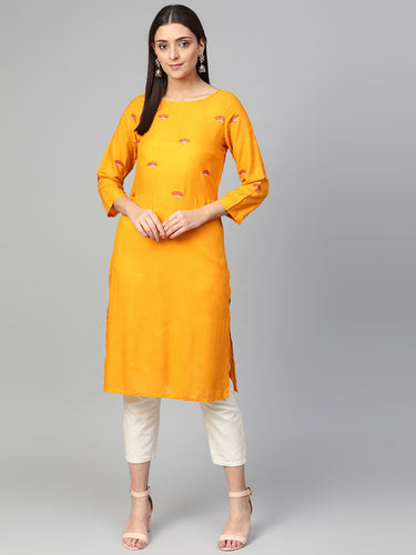 Jompers Women Mustard Yoke Design Straight Kurta